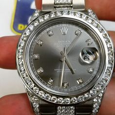 From the plain stainless steel version to diamonds! Rolex Diamond Watch, Diamond Watches For Men, Luxury Watches For Men, Luxury Watch Brands, Bling Bling, Brand Name Watches, Stylish Watches, Elegant Watches, Beautiful Watches