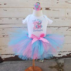 Look Whoo's 1 Birthday Tutu Outfit in Pink by CardsandMoorebyTerri