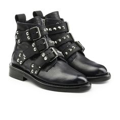 Zadig & Voltaire Laureen Embellished Leather Ankle Boots (£390) ❤ liked on Polyvore featuring shoes, boots, ankle booties, blue, short boots, leather ankle bootie, studded booties, blue boots and leather boots