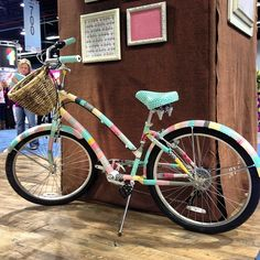How adorable is this bike covered in washi tape at My Minds Eye? #CHA #MyMindsEye #washitape