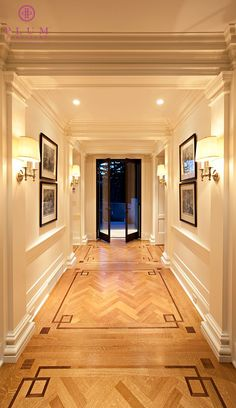 Herringbone Hardwood Floors with Detailed In-lay by Colleen McGill of McGill Design Group Inc www.mcgilldesign.ca