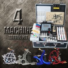 Tattoo kit with 2 tattoo machines power 40 colors inks grips complete tattoo kit 4 machines 40 bottles of ink power set diy 070 solutioingenieria Image collections