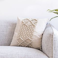 RISEON Bohemia Handmade Cotton Macrame Throw Pillow Cases Cover Pillowcases Couch Sofa Boho Home Decor x 18 inches,Off White (C) Decorative Pillow Cases, Decorative Cushions, Throw Pillow Cases, Throw Pillows, Diy Cushion, Cushion Pillow, Macrame Design, Macrame Art, Casual Home Decor