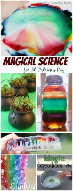 Magical experiments perfect for St. Patrick's Day - Rainbows, clovers, shamrocks, and gold- these experiments are sure to WOW the little ones! (and adults, too!)