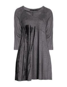 Kleid in Samtoptik in Grau designed von Lauren Vidal in der Kategorie Kleider bei navabi.de