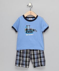 Take a look at this Light Blue Tractor Tee & Plaid Shorts - Infant, Toddler & Boys by Gioberti on #zulily today!