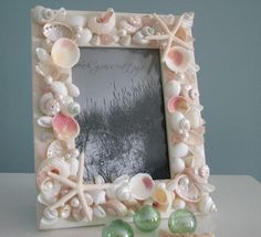 Beach Decor Seashell Frame - Nautical Shell Frame w Starfish, 5x7 Pink