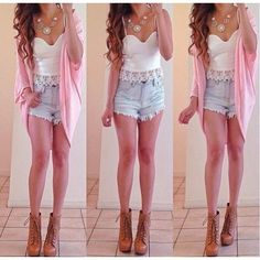 Outfit pretty, clothes, shorts, - me, outfit Cute Summer Outfits, Girly Outfits, Outfits For Teens, Pretty Outfits, Casual Outfits, Cute Outfits, Pretty Clothes, Night Outfits, School Outfits