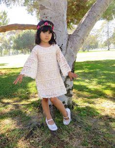Beige Eyelash/Cording Lace Bohemian Flower Girl Dress Size 3T-8T - Handmade to Order on Etsy, $65.00