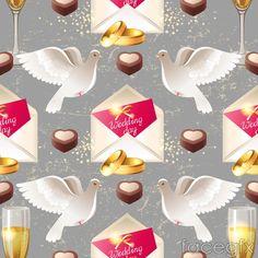 Wedding Dove invitation seamless vector background