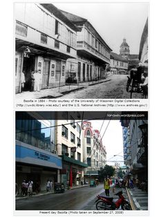 Escolta, the principal thoroughfare of Binondo, in 1884 and in Filipino Architecture, Philippine Architecture, Retro Pi, Intramuros, Philippines Culture, Architecture Concept Drawings, Vigan, Filipiniana, Manila