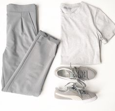 Greys and greys [envious official tee - puma suede classic - grey trousers]