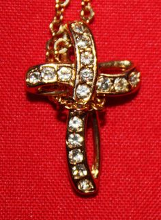 Vintage Necklace Delicate Gold Plate Cross by ilovevintagestuff