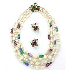 louis rousselet vintage jewelry - pearl necklace and earrings