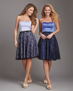 Allure Bridesmaids STYLE: 1353 This strapless A-line dress features a slight sweetheart neck, petite bow at the waist and a lace skirt. Satin belt is made to coordinate with the color chosen for the lace overlay.
