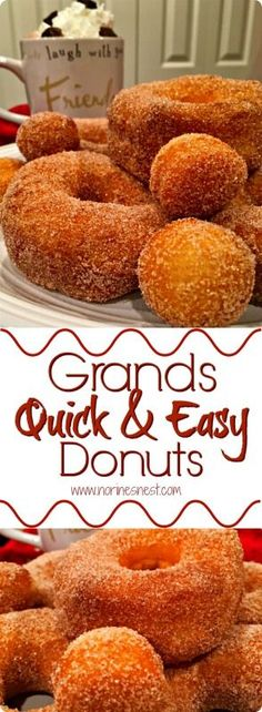 Grands Quick and Easy Donuts Fresh Hot Delicious Cinnamon Sugar Donuts made right in your very own kitchen in no time at all thanks to Pillsbury Grand Biscuits!These are SO YUMMY! A family Favorite! Pillsbury Grands Recipes, Pilsbury Recipes, Cronuts Recipe Pillsbury, Recipes With Grands Biscuits, Grand Biscuit Recipes, Easy Biscuit Recipe, Donut Recipes, Baking Recipes, Eggless Recipes