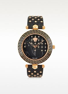 Black and Gold Studded Leather Watch by Versace. Buy for $1,695 from Forzieri