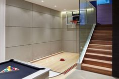 Basketball Barrier Nets with Contemporary Home Gym Also Family Room Glass Indoor Basketball Court Led Lights Recessed Lighting Staircase Small Pergola, Pergola Attached To House, Pergola Patio, Indoor Basketball Hoop, Outdoor Basketball Court, Indoor Gym, Indoor Pools, Backyard Pools, Pool Decks