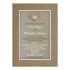 Rustic Burlap Wedding Invitation with Monogram