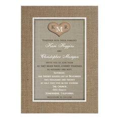 Rustic Burlap Wedding Invitation with Monogram