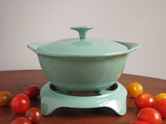 Vintage Findlay Enameled Cast Iron Casserole with Lid and Trivet - Turquoise Findlay Canada Ironware - 1960s Green Blue Enamel on Cast Iron by EightMileVintage on Etsy