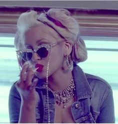 "Mercura NYC Chunky Crystal Sunglasses in ""Your Body"" music video by Christina Aguilera"