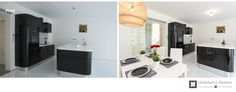 Home Staging nezařízeného rodinného domu v Praze #praha #prague #czech #homestaging #pred #po #before #after #white #walls #novostavba #kitchen #black #orange #sofa #ikea #cz