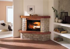 Corner Wood Stove, Fake Fire, Fachada Colonial, New Homes, Backyard, Living Room, Decoration, Places, Home Decor