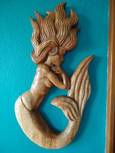 Hand carved Oak wood Mermaid a gorgeous looking by OsborneArtwork, $150.00
