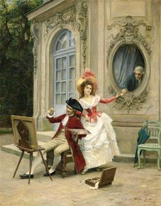 "Jules Girardet: ""The Love Letter"",  Oil on canvas, French, Academic, 1856-1938).  Girardet studied at L'École des Beaux-Arts in Paris, a pupil of Alexandre Cabanel. Already a painter of Oriental subjects, he devoted himself to the later historical themes and portraits, getting a prize at the Salon in Paris in 1881 and a silver medal at L'Exposition Universelle of 1889 . Girardet also painted historical compositions, amongst which there is The Siege of Sargossa."
