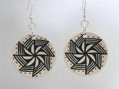 Pottery Clay Earrings American Indian Jemez Bear Routzin Sterling Silver Hooks