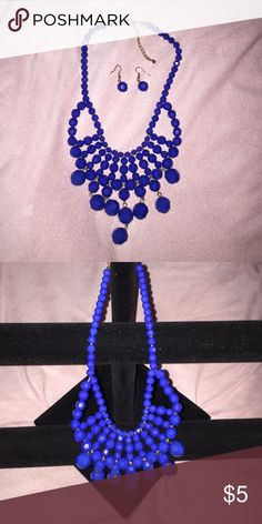 Blue beaded necklace Bright blue beaded necklace with matching earrings. Jewelry Necklaces