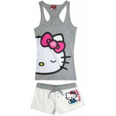 Hello Kitty - Big Wink Heather & White Sleep Set for women: Clothing ($28) ❤ liked on Polyvore featuring intimates, sleepwear, pajamas, hello kitty, pyjamas, tops, white sleepwear, white pjs, white pajamas and hello kitty pjs