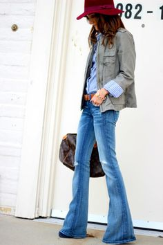 flare jeans and layers