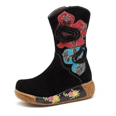 New Printing Suede Handmade Ankle Leather Boots