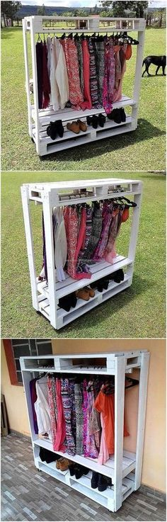 This is a great idea if a person is going to sell the products in an exhibition because it shows the dresses and the shoes in a proper manner. This idea of creating cloths hanger cum shoe rack works well if a person thinks placing closet in the room will Pallet Crafts, Pallet Projects, Diy Pallet, Pallet Ideas, Pallet Wood, Pallet Stairs, Small Pallet, Pallet House, Pallet Patio