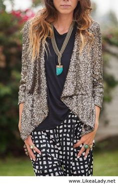 Sequin Cardigan w/ loose baggy Pants  T-Shirt (Note the totally mismatched colors, patterns  textures!)