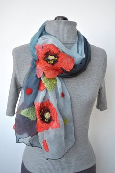 Nuno Felted Scarf Poppies Are Also Flowers made to by irinaj67, $59.00