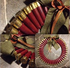 Made on a metal frame. These shotgun shells are recycled 12 gauge federals. They are all red with the option of a silver or bronze metal. The bow can