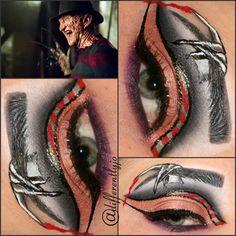 Freddy Krueger Inspired with Halloween Eye Makeup, Halloween Inspo, 31 Days Of Halloween, Halloween 2020, Halloween Face, Makeup Inspo, Makeup Art, Makeup Inspiration, Hair Makeup