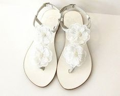 Handmade wedding sandals / Jewellery / Crafts by artncreate Beaded Sandals, Beaded Jewelry, Beaded Bracelets, Jewellery, Unique Jewelry, Single Pearl Necklace, Pearl Necklace Wedding, Bridesmaid Flats, Letter Beads