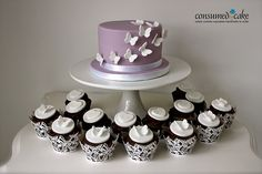 Lilac & White Butterfly Wedding Cupcakes, #white #wedding