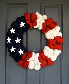 Patriotic American Flag Wreath by WoulfsCreations on Etsy, $50.00