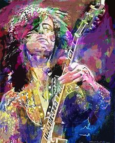 David Lloyd Glover - Jimmy Page Electric acrylic and silkscreen ink on paper