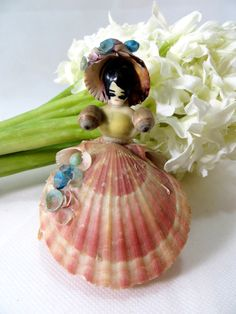 Do you remember these? Retro Seashell Figurine 1950s Crinoline Lady Real Shell Craft Souvenir by keepsies, £9.00