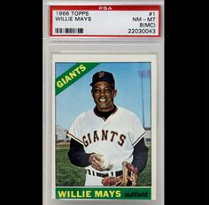 Willie Mays 1966 Topps PSADNA Giants 22030043 | eBay #williemays #mays #1966 #topps #giants #signedcard #autograph