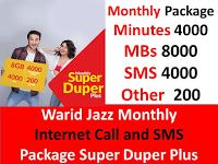 Warid Jazz Monthly Internet Call And Sms Package Super Duper Plus Internet Call Jazz Internet Sms