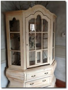 homemade bird cages | Hutch To A Birdcage- Found on soulfulsparrowshop.blogspot.com Pet Bird Cage, Bird Cages, Little Live Pets, Little Kittens, Homemade Bird Houses, Bird Houses Diy, Birds For Sale, Repurposed China Cabinet, Pet Store