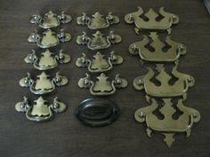 30% OFF! $4.0 LOT OF 14 DRESSER DRAWER PULLS 9 BRASS TONE 1VINTAGE 4 SOLID BRASS Antique Drawer Pulls, Dresser Drawer Pulls, Dresser Drawers, Solid Brass, Antiques, Antiquities, Drawers, Antique, Chest Of Drawers