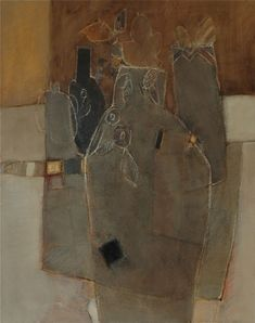 atelier : 13 - 92x73 - huile sur toile Abstract Portrait Painting, Abstract Art, Modern Art, Contemporary Art, Tissue Paper Art, Acrylic Colors, Art Techniques, Ceramic Art, Mixed Media Art